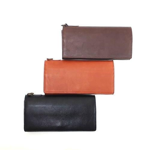 【アウトレット/ナチュラルミュー】手触りの良いソフトな牛革 カブセ長財布