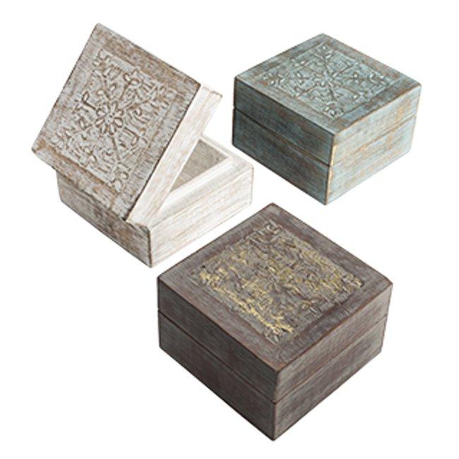 手彫りの小箱 マンゴーウッド