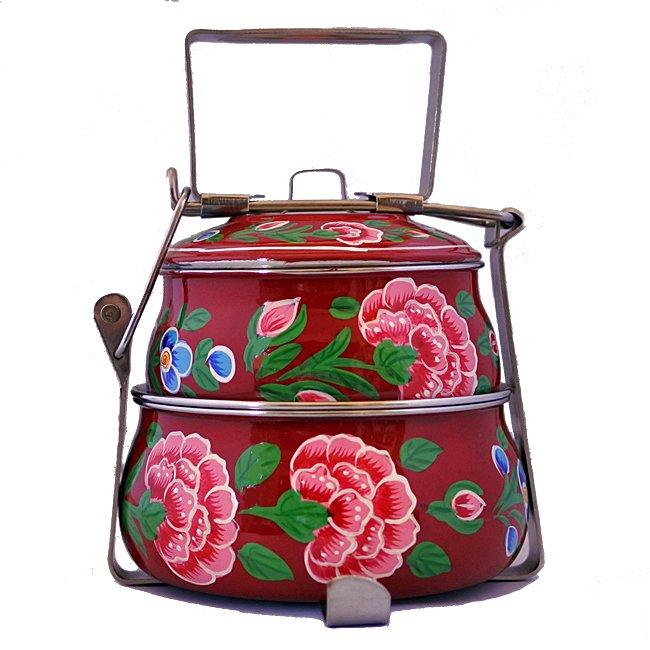 インド 弁当箱 手描き 花柄 2段 レッド