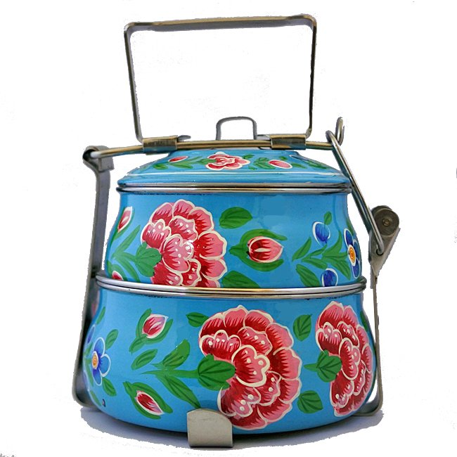 インド 弁当箱 手描き 花柄 2段  ブルー
