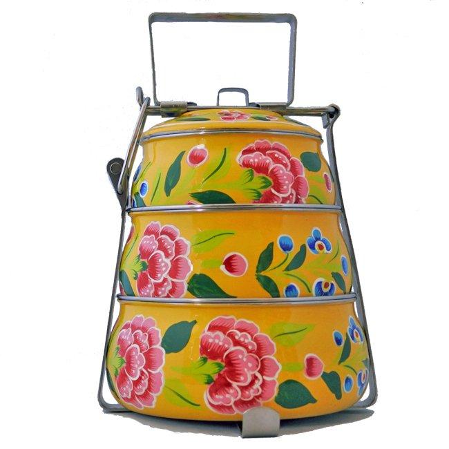 インド 弁当箱 手描き 花柄 3段 イエロー