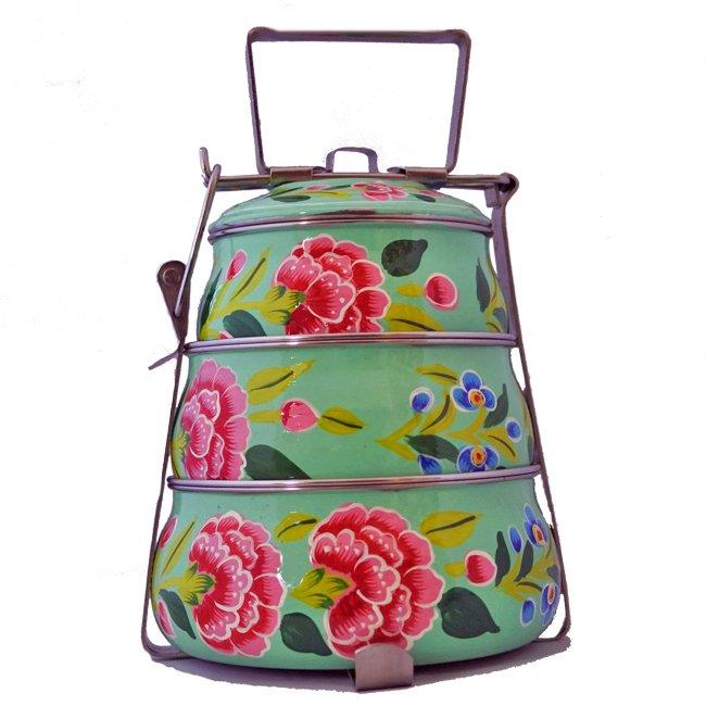 インド 弁当箱 手描き 花柄 3段 ミントグリーン