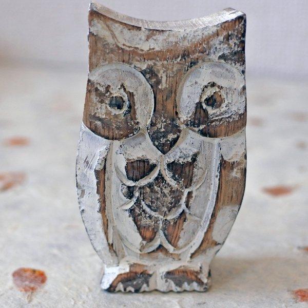 フクロウ 木彫りの置物 親子セット