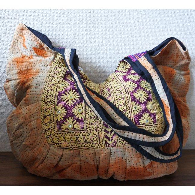 ラリーキルト バッグ バローチ族 刺繍 オレンジ
