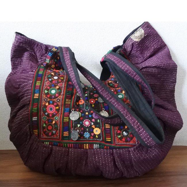 ラリーキルト バッグ バローチ族 刺繍 パープル