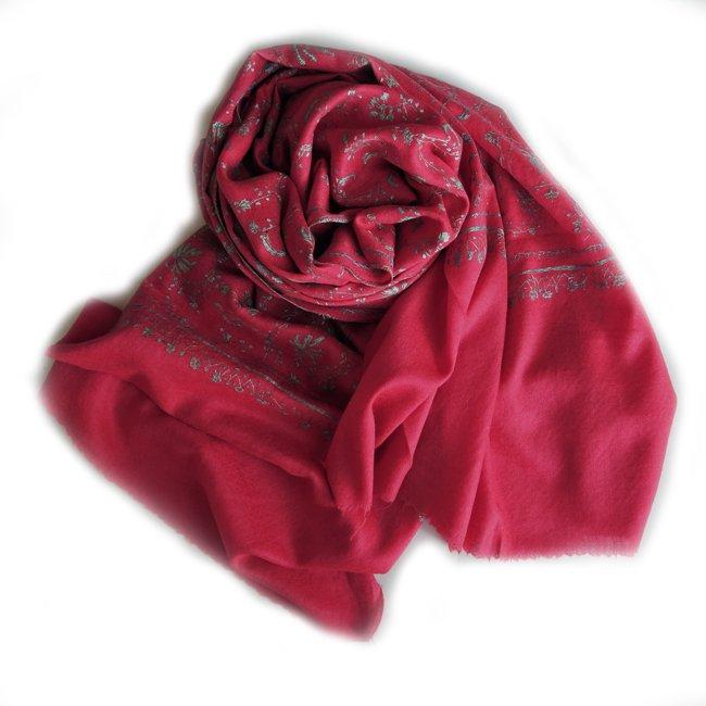 カシミール ソズニ 刺繍 ファイン ウール  ストール strawbery red