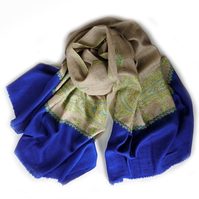 カシミール ソズニ 刺繍 ファイン ウール  ショール smoky beige× indigo blue