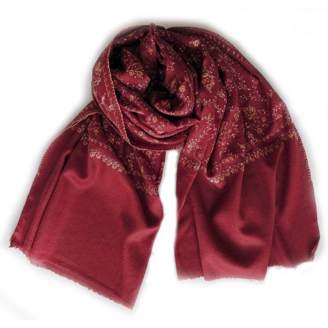 カシミール ソズニ 刺繍 ファイン ウール  ストール burgundy