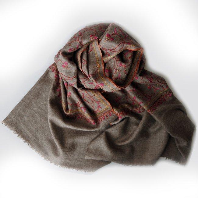 カシミール ソズニ 刺繍 ファイン ウール  ストール taupe