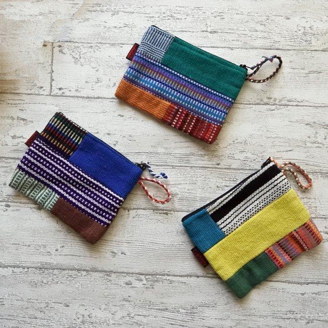 手織り コットン マチなし ポーチ ネパール 製 WSDO