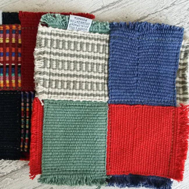 手織り コットン コースター2枚セット ネパール 製 WSDO