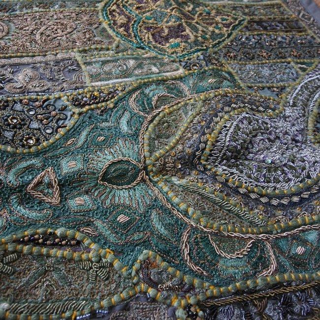 ザリ 刺繍 パッチワーク タペストリー グリーン系