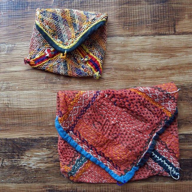 バンジャラ族 ヴィンテージ刺繍 布小袋 2種