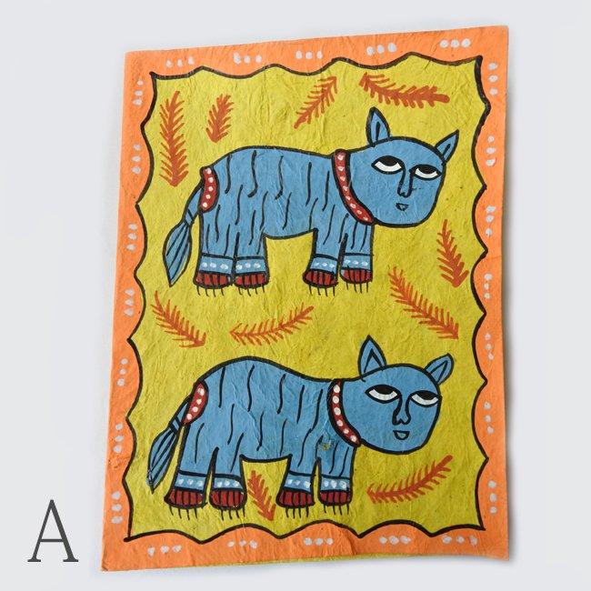 ミティラー画 手描きのポストカード 5枚セット