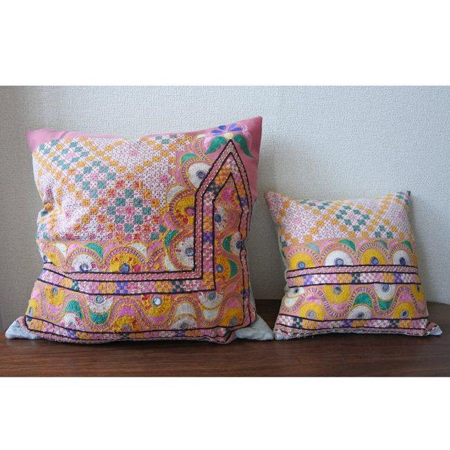 ラバリ族 刺繍 クッションカバー  35×35