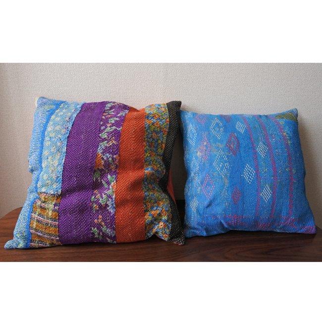 ラリーキルト クッションカバー カンタ刺繍 ブルー系 2タイプ