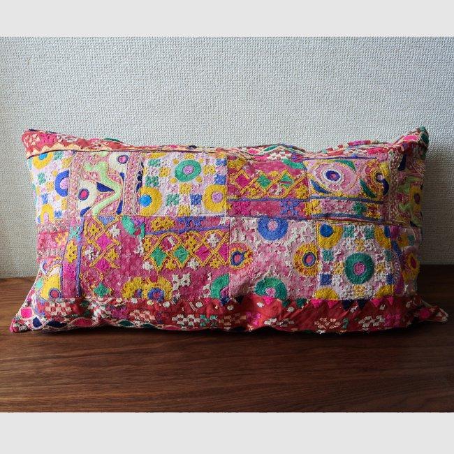 ラバリ族 刺繍 パッチワーク・クッションカバー  ロングサイズ D