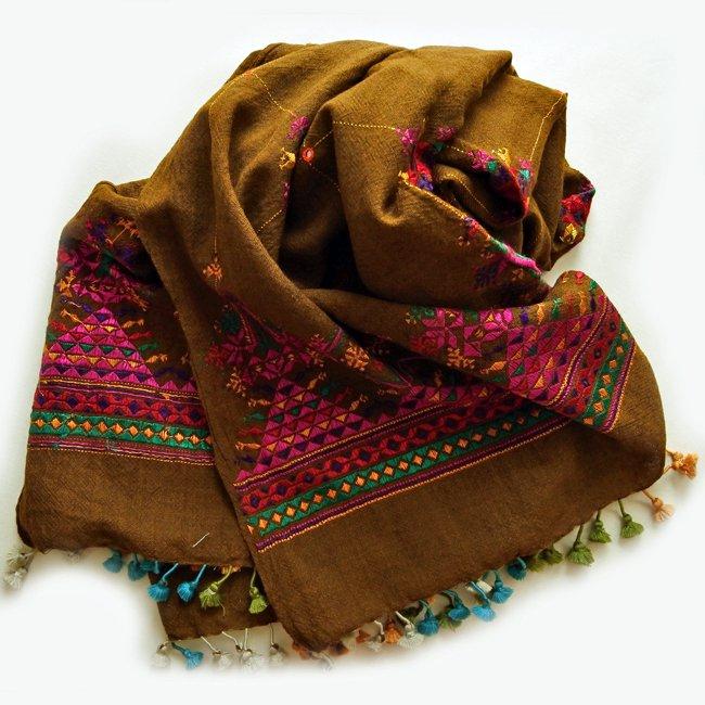 スーフ刺繍 手織りウール  ショール