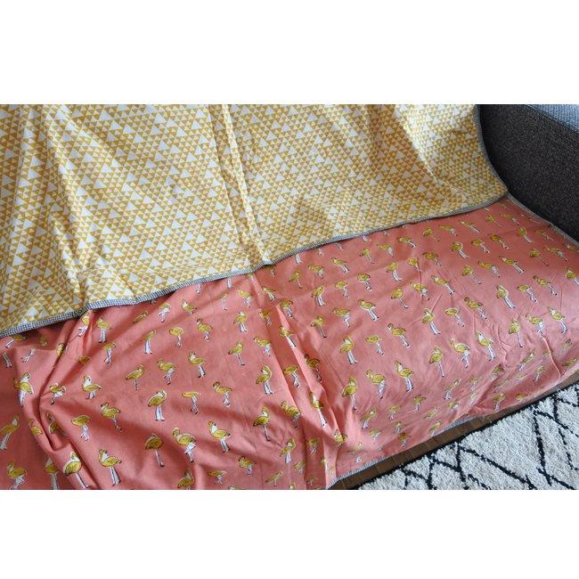 ブロックプリント ベッドカバー コットンケット シングルサイズ 三角フラミンゴ