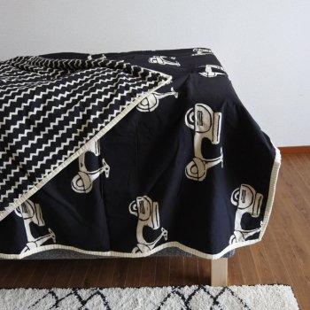 ブロックプリント ベッドカバー コットンケット シングルサイズ ジグザグ スクーター