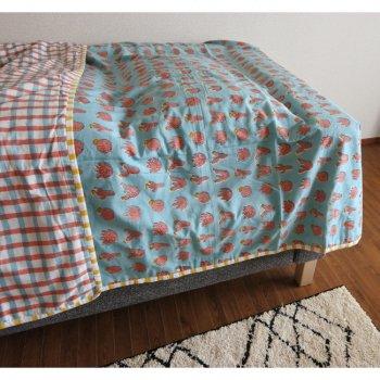 ブロックプリント ベッドカバー コットンケット シングルサイズ サボテン チェック
