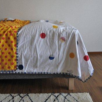 ブロックプリント ベッドカバー コットンケット シングルサイズ 水玉とサカナ