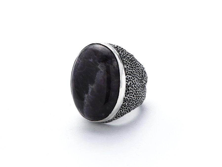 Pyro mesh work Amethyst Cabochon Ring