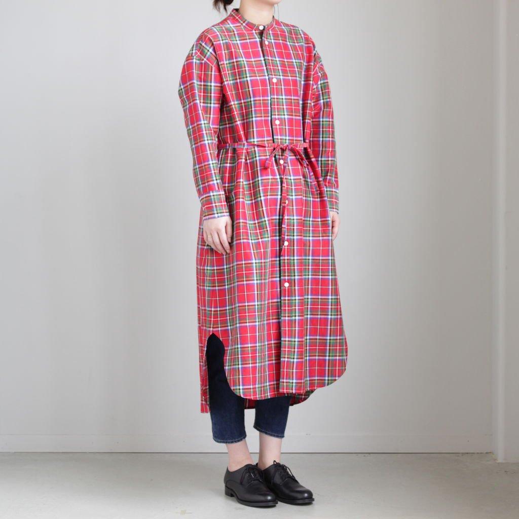 S/R STAND COLLAR LONG SHIRT #TARTAN CHECK RED [no.3550]