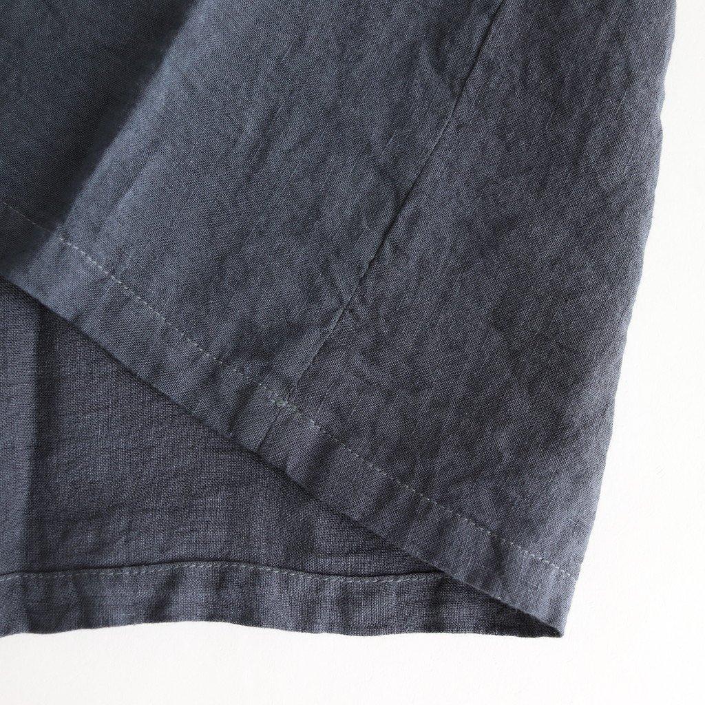 製品染めリネンフレンチスリーブワンピース #BLUE GREY [OP20214]