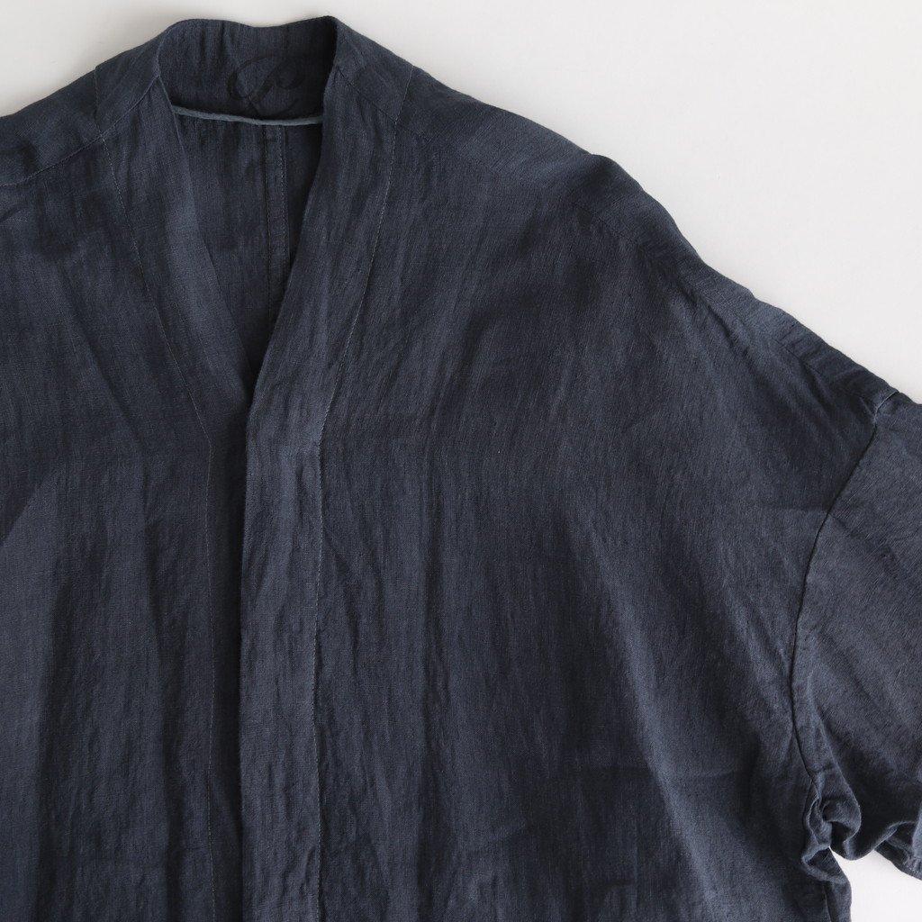 製品染めリネンガウンコート #BLUE GREY [CO20213]