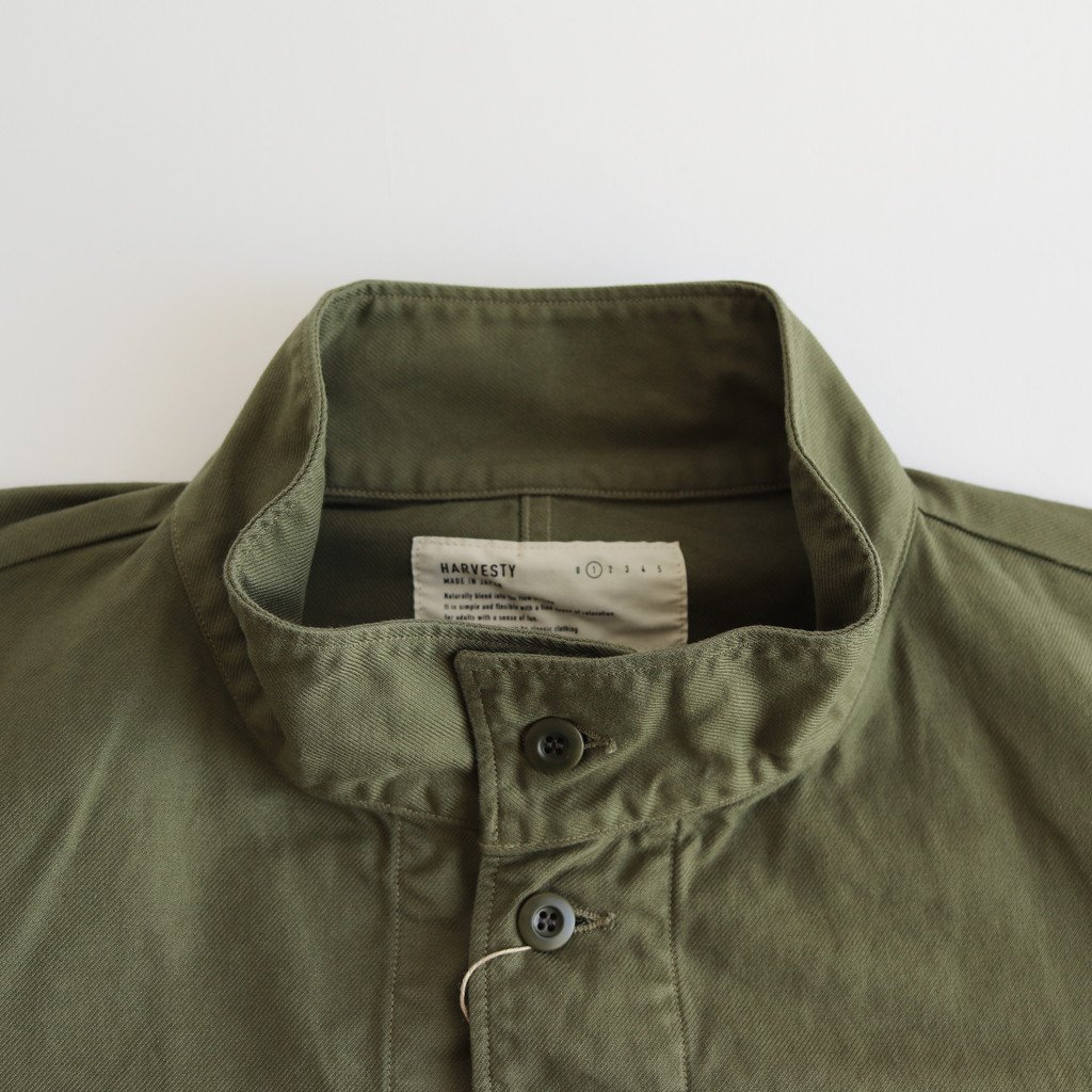 FRENCH WORKER SERGE MILITARY OVER COAT #MILITARY GREEN [A32013]
