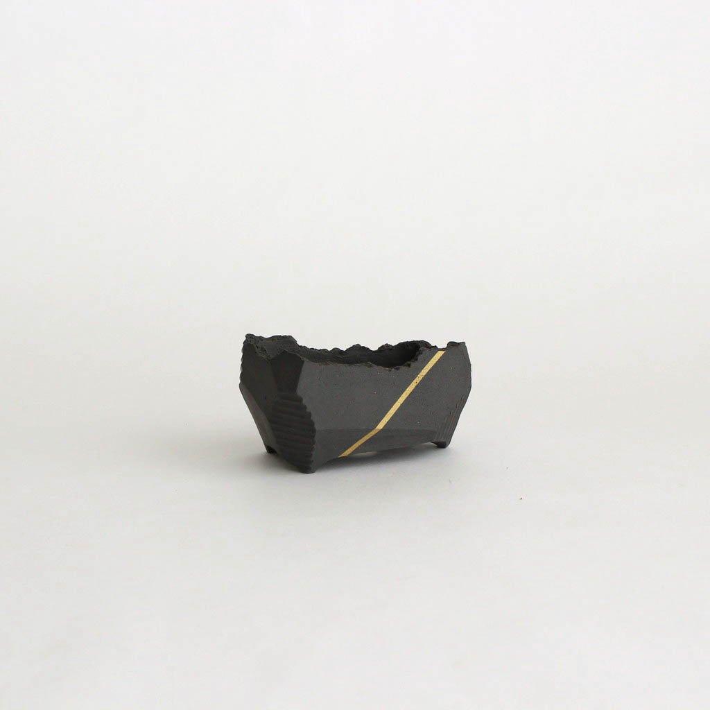 澪標 盆栽鉢 SS #リッチブラック+金ライン_B