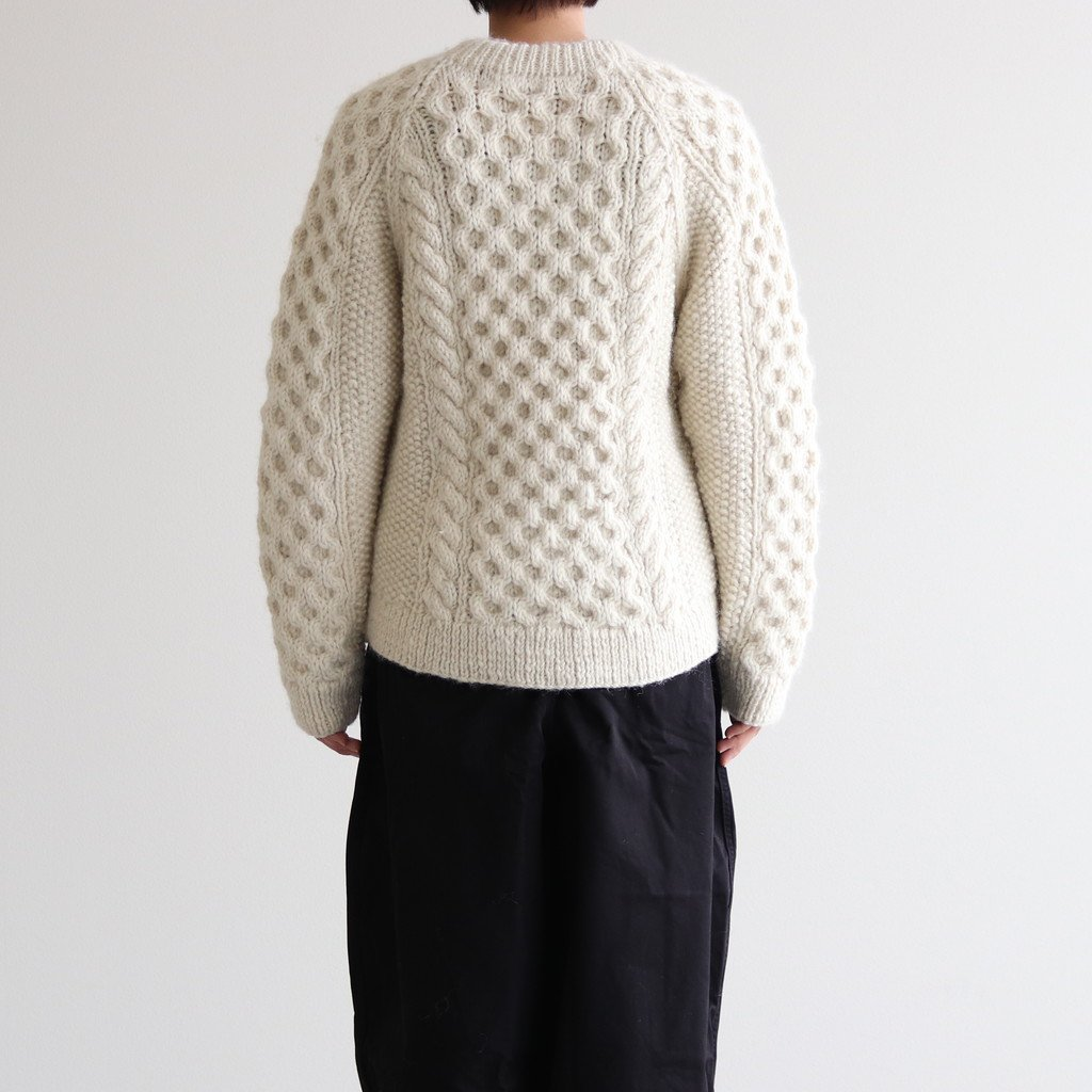 HAND KNITTED CABLE KNIT CARDIGAN #OFF WHITE [A62001]
