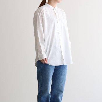 CIOTA | シオタ _ スビンコットン タイプライター バンドカラー BIG シャツ #ホワイト [SHLM-102L]