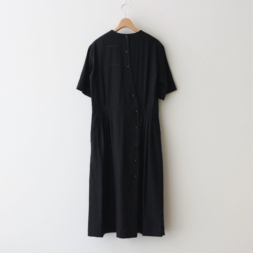 月暈の TUCKED DRESS #ブラック [TLF-221-op008-d]
