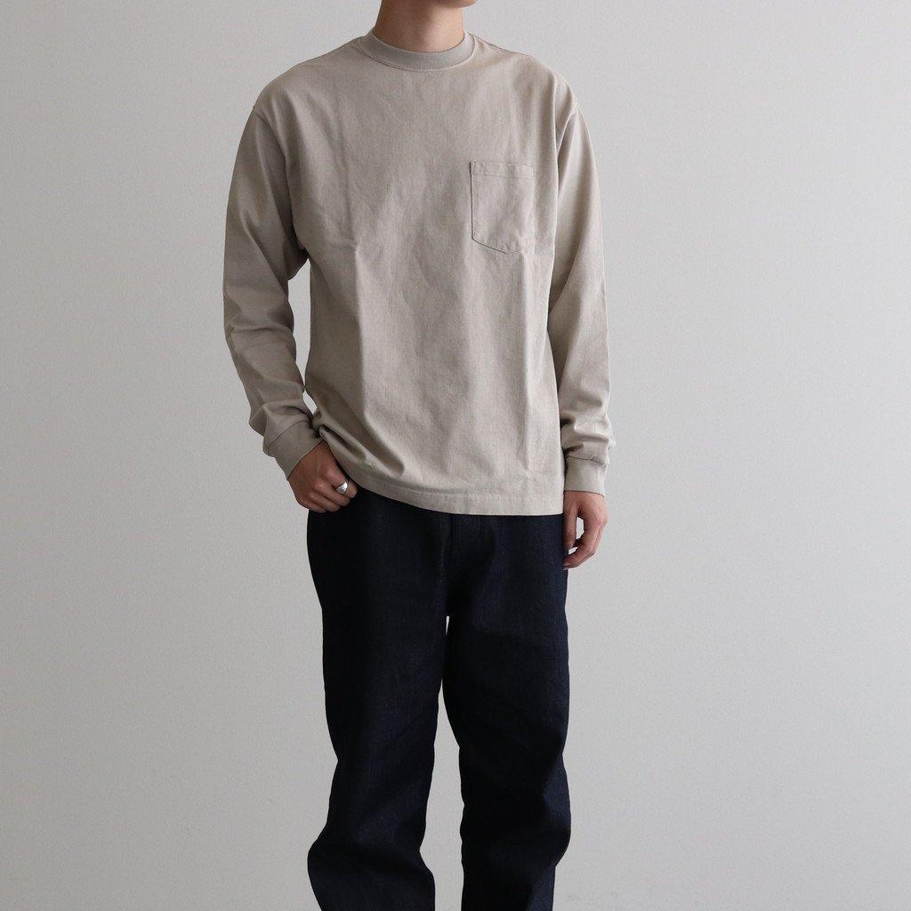 スビンコットン 10/- 度詰め 吊り天竺 ポケット付き ロンT #ライトベージュ [CSLM-105M]
