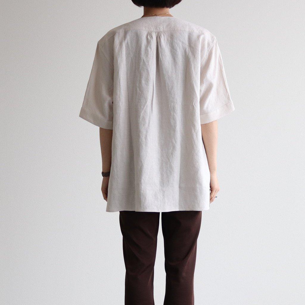 LINEN HW SHORT SLEEVE SHIRT #OFF WHITE [211612]