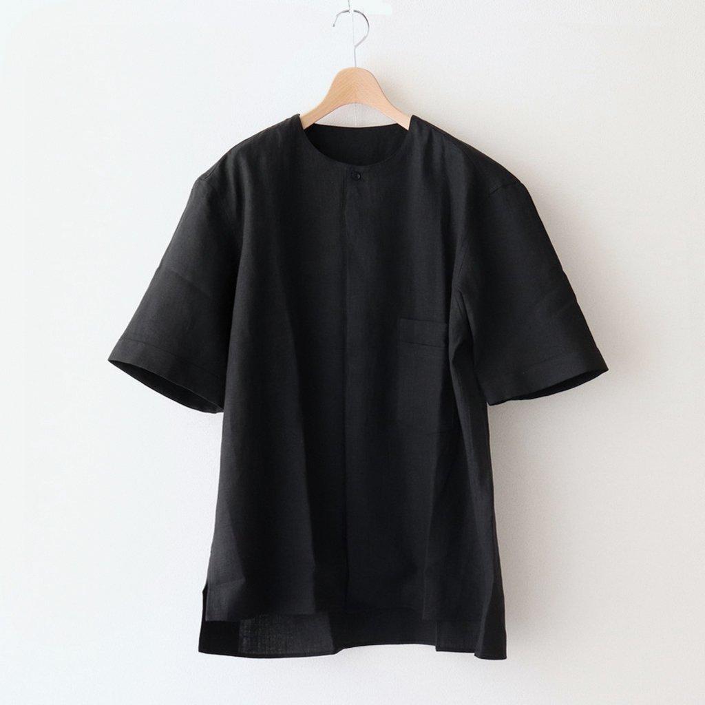 LINEN HW SHORT SLEEVE SHIRT #BLACK [211612]