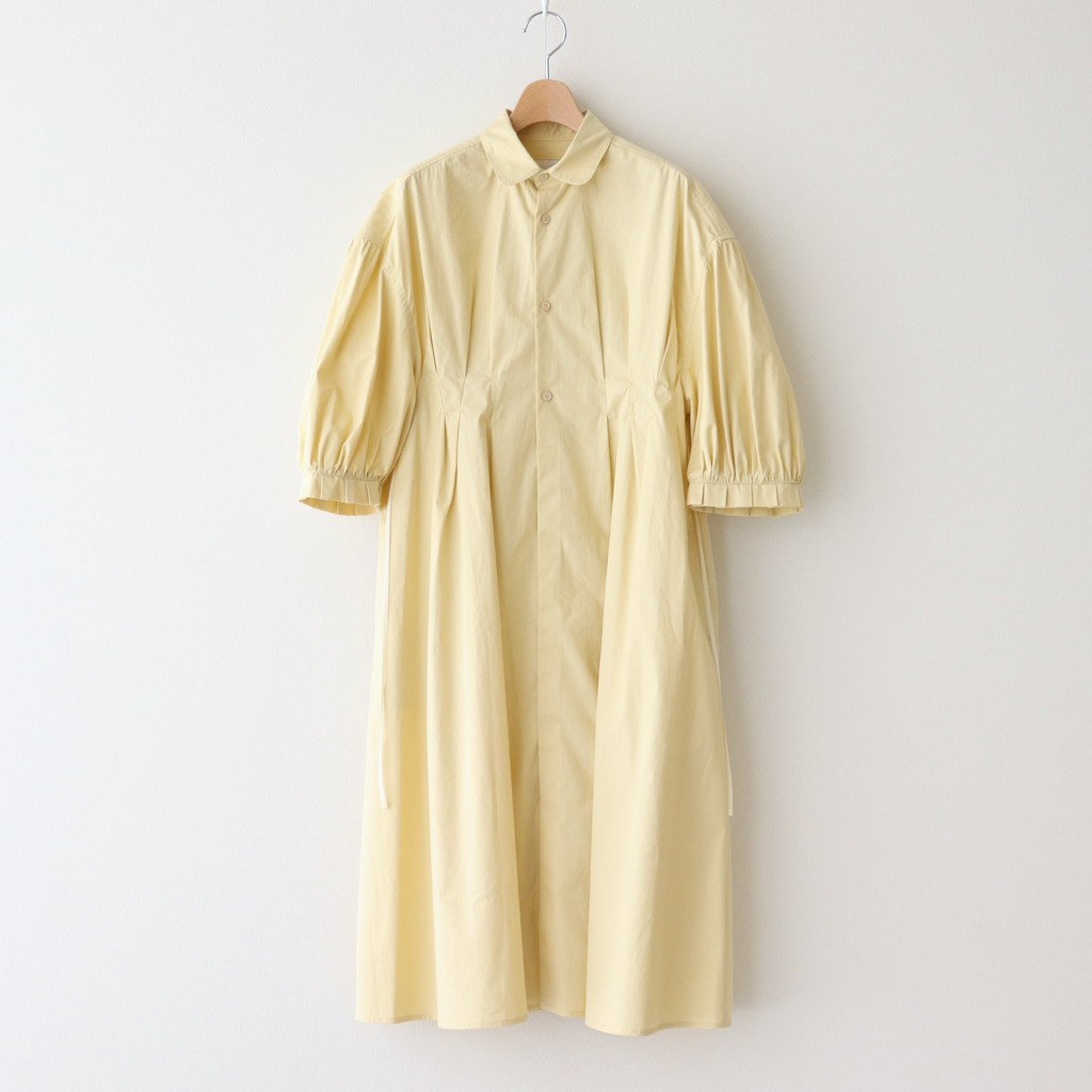 SILKY TYPEWRITER CLOTH CLASSIC ONE-PIECE #PALE YELLOW [211304]