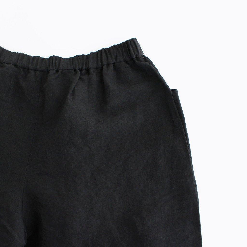 レーヨンリネンドローストリングテーパードパンツ #BLACK [211664]