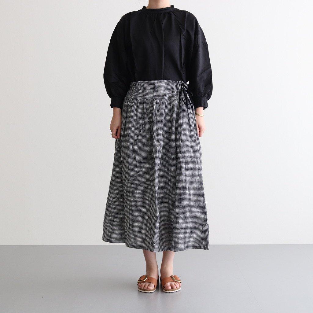 ボイルギンガムギャザースカート #BLACK [211661]