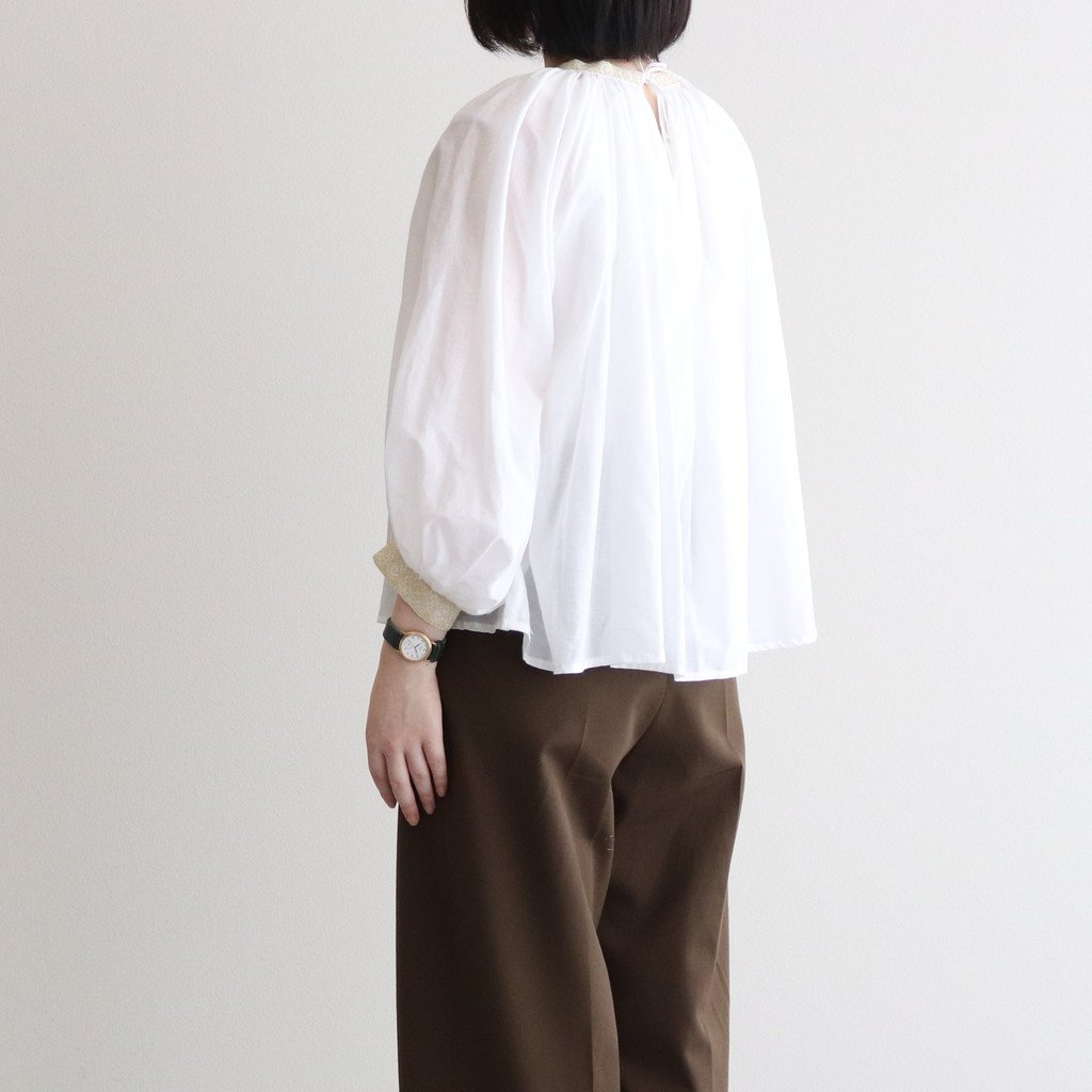 EMBROIDERY GATHER SMOCK #WHITE / GOLD [no.5036]