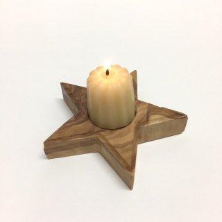 みつろうキャンドル(カヌレ型)+オリーブの木のキャンドル台のセット