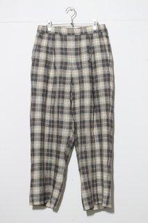 HAVERSACK - Linen Check Straight Easy Pants -