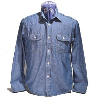 SUGAR CANE BLUE CHAMBRAY WORK SHIRT(SC27850-421A)
