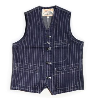 SUGAR CANE 9oz. WABASH STRIPE WORK VEST(SC12654)
