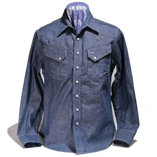 SUGARCANE Blue Denim Western Shirt(SC28190-421A)