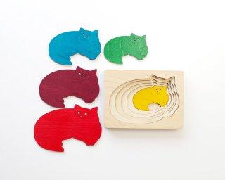 [2歳-]ステップパズル・ねこ〈木製入れ子パズル〉George Luck