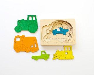 [3歳-]ピープパズル・はたらく車〈木製入れ子パズル〉George Luck