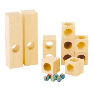 [3歳-]組立てクーゲルバーン・穴あき積木セット〈積み木・玉転がし〉HABA